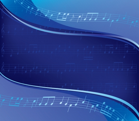 music abstract: wavy blue vector background - musical design  Eps 10  Used mesh