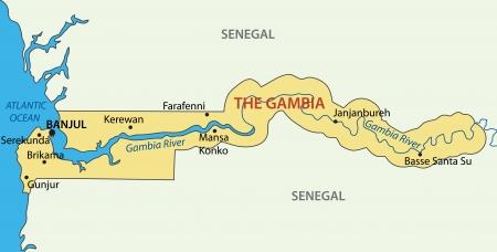 atlantic city: Republic of the Gambia - vector map Illustration