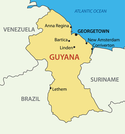 georgetown: Co-operative Republic of Guyana - vector map