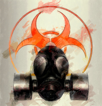 black gas mask with biohazard symbol - sketch photo