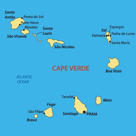 praia: Republic of Cabo Verde - vector map