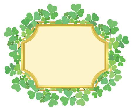 feast of saint patrick: gold frame with green shamrock - vector Illustration