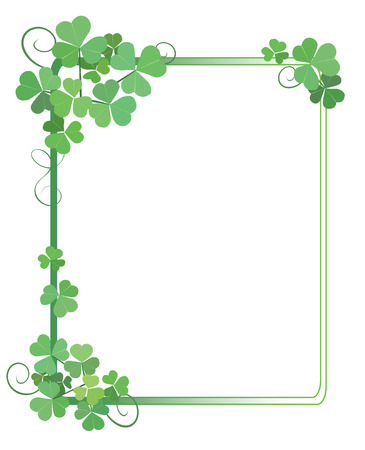 decorative green frame with shamrock - vector