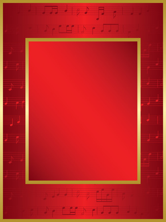 music notes vector: bright red background with music notes - vector