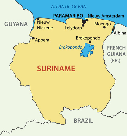 atlantic city: Republic of Suriname - vector map