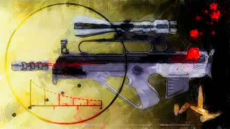 sniper rifle: abstract background - rifle with optical sight