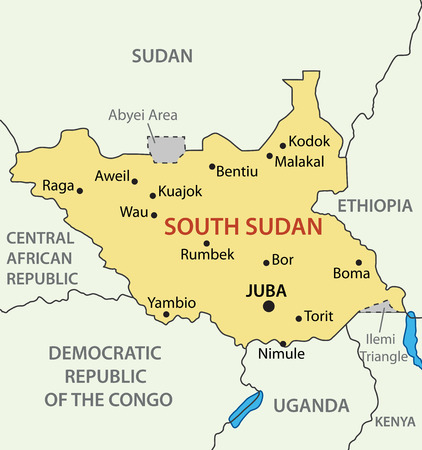 sudan: Republic of South Sudan - vector map