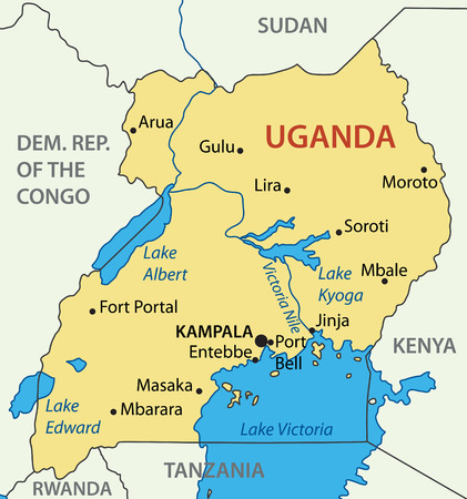 ugandan: Republic of Uganda - vector map Illustration