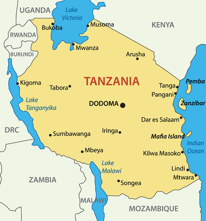 United Republic of Tanzania - vector map