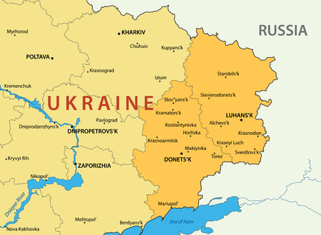 geographical: Donetsk and Lugansk regions of Ukraine - vector map Illustration