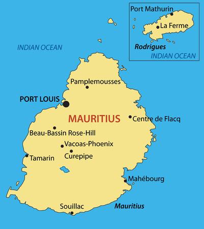 mauritius: Republic of Mauritius - vector map Illustration