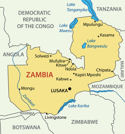 zambia: Republic of Zambia - vector map