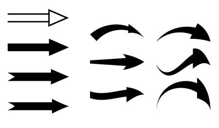 curved line: black arrows - vector set  Eps 8  Illustration