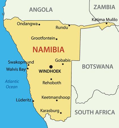 Namibië - vector kaart Vector Illustratie