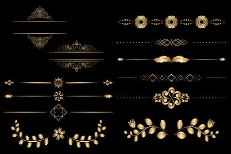 separator: golden design elements with gradient - vector