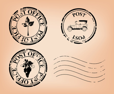 set -  vector grungy post stamps  Eps 8  Vector