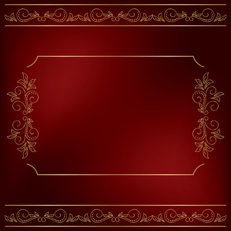 bordo: dark red background with gold floral decorations - vector Illustration