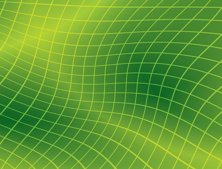 deformation: bright green background with distorted grid - vector