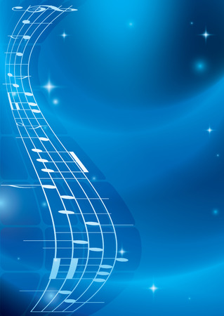 music figure: bright blue music background with gradient - vector - eps 10