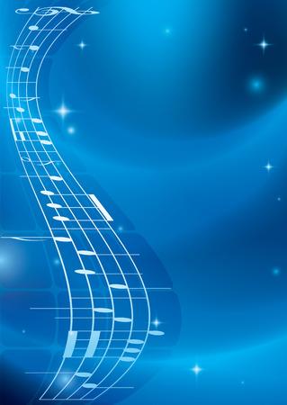 heldere blauwe muziek achtergrond met gradiënt - vector - eps 10