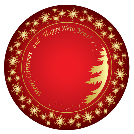 year curve: merry christmas and happy new year - vector red background Illustration