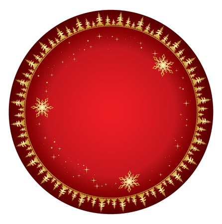 red background with gold decor - vector christmas Vector