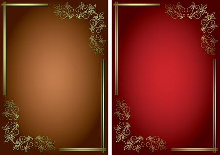 golden frames: vector backgrounds with golden decorative frames Illustration