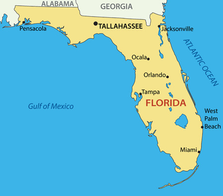 us map: Florida - vector map