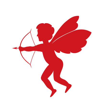 amur: red cupid - vector silhouette