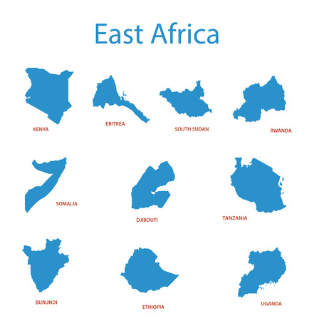 east africa: east africa - vector maps of territories Illustration