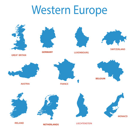 서부 유럽 - 영토의 벡터지도