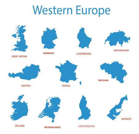 West-Europa - vector kaarten van de gebieden Stock Illustratie