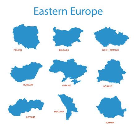 eastern europe: eastern europe - vector maps of territories