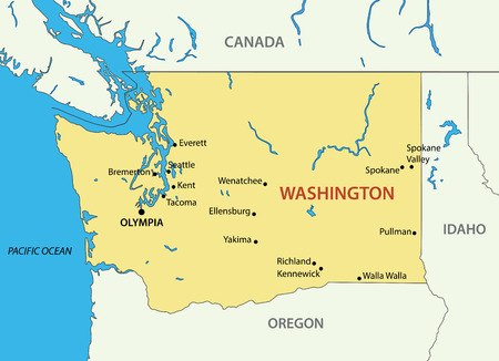 the ocean state: Washington (state) - vector map