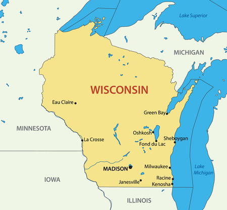 Wisconsin - vector map Ilustrace
