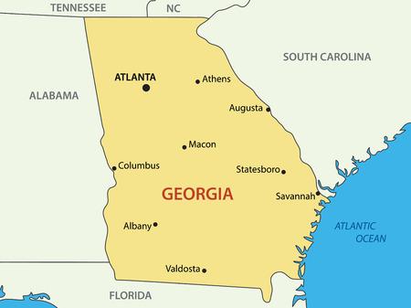 atlanta: Georgia - US state - vector map Illustration
