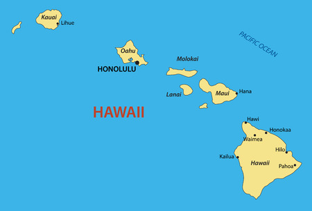 Hawaii mappa Archivio Fotografico - 43470953