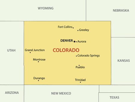 american cities: Colorado - vector map