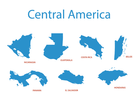 central america: central america - vector maps of territories