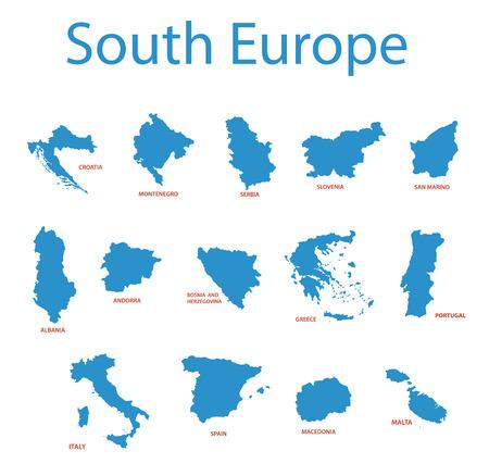 europa: europa sur - mapas vectoriales de los territorios