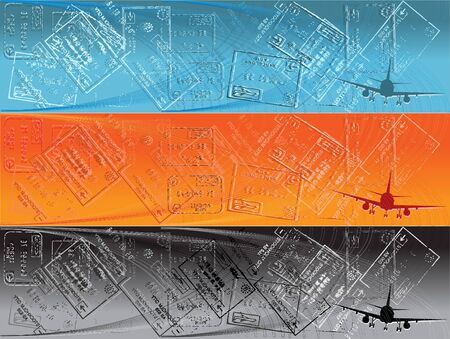 Banner with airplane and border stamps