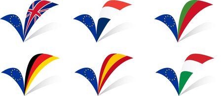 all european flags: European Union Countries flags set I