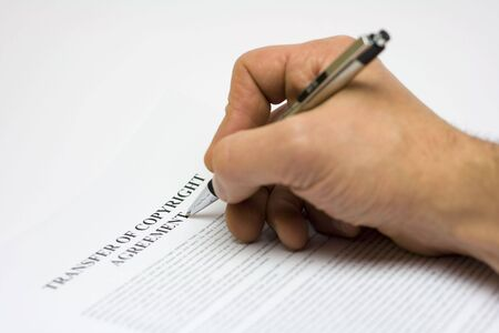 Signing confidential agreement Stock Photo