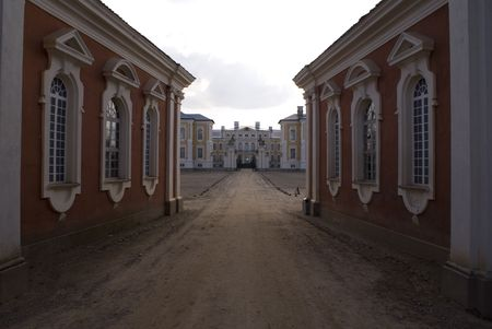 Old palace in Rundale (Latvia) Stock Photo