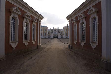 Old palace in Rundale (Latvia) Stock Photo