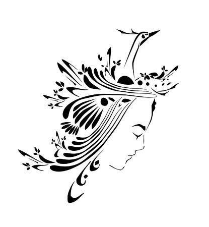 lady bird: Girl and bird design Illustration