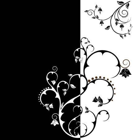 duo tone: Duo tone floral wallpaper