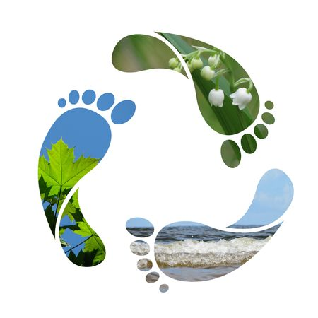 carbon pollution: Footprint recycle sign Stock Photo