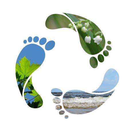 green footprint: Footprint recycle sign Stock Photo