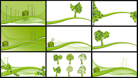Collection of 9 ecological backgrounds, vector illustration Vector